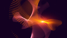 Christmas Magic Abstract Fractal Swirl Grid Curves And Glowing Waves Particles. Blurred Futuristic Space Design Background Template.