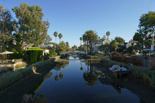 Los Angeles Venice Canals, Italian-inspired Artificial Canals Built In 1905, With Sidewalks And Bridges For Pedestrians, California, United States