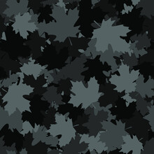 Camouflage Seamless Pattern Of Maple Leaves. Abstract Modern Floral Endless Background In Military Style For Fabric And Fashion Print. Vector Ilustration.