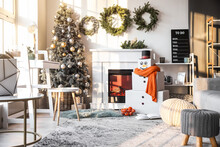 Interior Of Room With Decorative Snowman