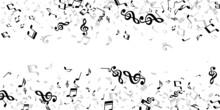 Music Notes Cartoon Vector Pattern. Melody