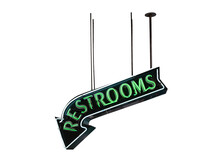 Green Neon Restroom Sign Post Isolated On White