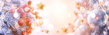 New Year Banner With Fir Branch And Festive Lanterns, Bokeh. New Year, 2022. Light Snowy Background, Snowflakes, Lights. Winter Festive Abstract Background.