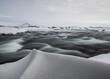canvas print picture - Wasserfluss mit Schnee Island