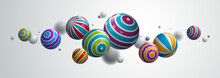 Abstract Realistic Glossy Spheres Vector Background, Composition Of Flying Balls Decorated With Patterns, 3D Mixed Lined Globes, Depth Of Field Effect.