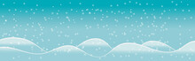 Winter Landscape On A Background Of Mountains, Flat Cartoon Vector. Snow Cover Of The Hills Before The New Year, Snowflakes On A Frosty Day.