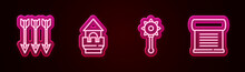 Set Line Crossed Arrows, Castle Tower, Medieval Chained Mace Ball And Decree, Parchment, Scroll. Glowing Neon Icon. Vector