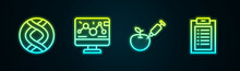 Set Line DNA Symbol, Genetic Engineering Modification, Genetically Modified Apple And Clinical Record. Glowing Neon Icon. Vector