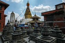 Swayambhunath Stupa Is An Ancient Religious Complex On Top Of A Hill In Kathmandu, Nepal.
