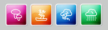 Set Line Mushroom, Bare Tree, Kite And Cloud With Rain. Colorful Square Button. Vector