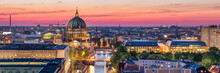 Aerial Panorama Of Berlin City With Berlin Cathedral (Berliner Dom) And Spree River