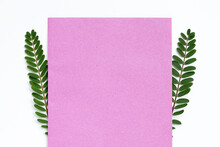 Pink Paper With Green Leaves On White Background.