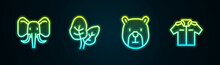 Set Line Elephant, Tropical Leaves, Bear Head And Shirt. Glowing Neon Icon. Vector
