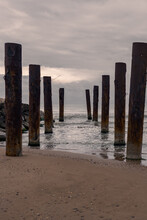 Piles From The Old Pier On The Beach, Ruined Pier