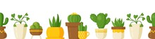 Vector Illustration Of Plant Cover On White Background. Infinite Background With Houseplants. Cacti, Ivy And Other Flowers In Vases. Beautiful Pattern Of House Flowers.