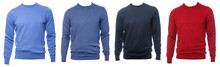 Longsleeve Jumpers Of Various Colours On Mannequin Isolated