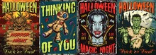 Happy Halloween Colorful Vintage Posters