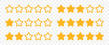 Rating Stars From 0-5 Rate Review Icon Set Vector On Transparent Background.