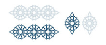 Set Of Templates For Arabic Luxury Bijouterie Isolated On White Background. Vector Illustration.