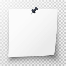 Realistic White Sticky Note With Black Pin, Curl And Shadow On Transparent Background. Adhesive Office Reminder Sheet Of Note Paper. Mockup Template For Your Design. 3d Vector Illustration
