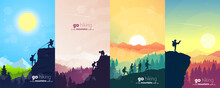 Adventure. Hiking Tourism. Travel Concept Of Discovering, Exploring, And Observing Nature. Minimalist Graphic Flyers. Polygonal Flat Design For Coupons, Vouchers, Gift Cards. Vector Illustrations Set.