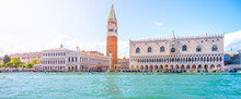 Venice Historical Center Waterfront. Landmarks Around St Mark Square With St Mark Campanile And Doge Palace. Sunny Summer Day In Venice, Italy.