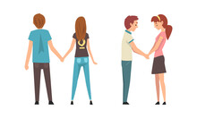 Young Male And Female Couple Holding Hands Feeling Love And Affection Vector Set