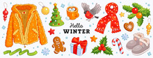 Hello Winter And Merry Christmas Hand Drawn Vector Set