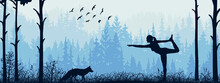 Horizontal Banner. Silhouette Of Girl Practicing Yoga On Meadow In Forrest. Fox Watching. Yoga Sun Salutation. Healthy Lifestyle, Trees, Grass, Animal. Landscape Illustration.