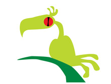 Strange Green Bird Sitting On A Branch. Vector Image For Prints, Poster And Illustrations.