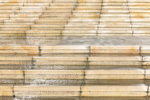 Wet Stone Stairs In The Rainy Day . White Staircase In The Park