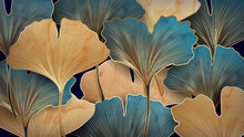 Art Background With Blue And Gold Ginkgo Leaves For Textile Decoration, Packaging Or Web Banner