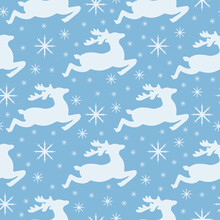Seamless Pattern Featuring Christmas Reindeer And Snowflakes. New Year S Pattern. Santa S Reindeer For Packing. Christmas Winter Pattern For Printing. Vector Illustration