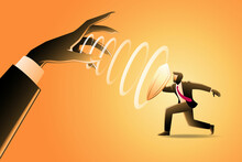 Vector Illustration Of Business Concept, Businessman With Shield Parried Hypnotic From Giant Evil Hand