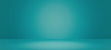 Abstract Pastel Teal Color And Gradient Cyan Light Background With Mint Green Table Backdrops Display Product Design. Turquoise Empty Space Room For Showing. Blur 3D Render Podium Stage Vector Texture