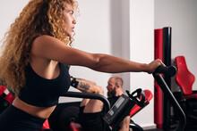 Sportswoman Doing Cardio In Gym