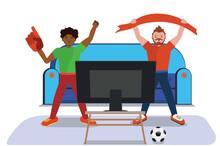 Two Soccer Fans Watch TV