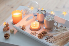 Two Cups Of  Hot Drink With Marshmallows  And Christmas Decor On White Wooden Tray