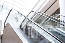 Closeup Of Escalators In Modern Shopping Mall