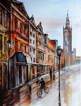 Cityscape Painted With Oil Paints