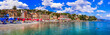 Leinwanddruck Bild - most beautiful coastal towns of Italy -Santa Margherita Ligure in Liguria, Panoramic view with colorful houses and nice beach