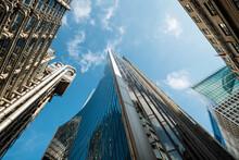 UK, London, Financial District Skyscrapers Seen From Below