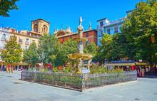 The Giants Fountain In Bib-Rambla Square, Granada, Spain