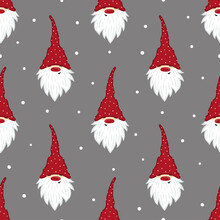 Cute Gnomes Pattern. Seamless Christmas Background With Dwarf Characters.