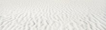 White Sand Texture, Close-up. Baltic Sea Shore, Beach. Nature, Environment, Ecology. Concept Landscape, Background, Wallpaper. Panoramic Image, Copy Space