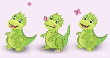 Three Cute Green Dinosaurs On A White Background. Isolated. Children's Cartoon. Card. Pink Butterflies Sit On The Nose. Insect. Predator. Stock Vector Illustration. Dragon. Fun. Childish.Drawing.