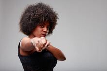 Serious Young Black Woman Challenging The Viewer