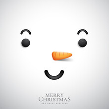 Snowman. Cartoon Holiday Character Moving. Cute Snowman Face And Welcome Vector Illustration.