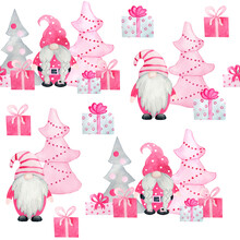 Watercolor Seamless Pattern With Pink Pastel Nordic Scandinavian Gnomes. Christmas New Year Gifts Snowflakes Trees, Baby Girl Design Winter Celebration Print For Wrapping Paper Textile.