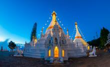 Temple Wat Phra That Doi Kong Mu. Mae Hong Son, Thailand. It Is A Sanctuary Consisting Of Phra That Chedi. Thai-Burma Art, 2 Pieces